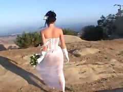 Fresh bride gets fucked by two