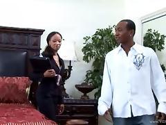 Ebony Destiny Dane rides a big black cock in a bedroom