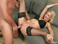 Emma Starr with giant hooters opens her legs to