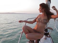 Redhead Sheds Her Bikini and Gets Naked on a Yacht